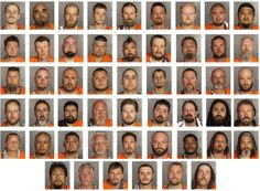 Mug shots of 51 people arrested in Sunday's shootout in Waco, Tex. Credit McLennan County Sheriff's Department