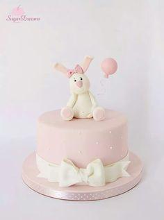 Baby Bunny Cake Balloon Birthday Cakes, Bunny Birthday Cake, Girly Birthday Cakes, Baby Shower Desserts, Baby Shower Cakes, Pretty Cakes, Beautiful Cakes, Big Cakes, Dream Cake