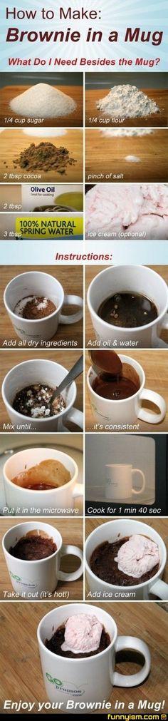 Brownie mug: easy single serving dessert