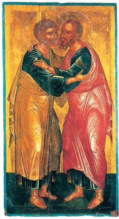 The embrace of St Peter and St Paul. The first byzantine icon-painter who signed his work. Byzantine Art, Byzantine Icons, Religious Images, Religious Icons, Fall Of Constantinople, Orthodox Catholic, St Peter And Paul, Church Icon, St Pierre