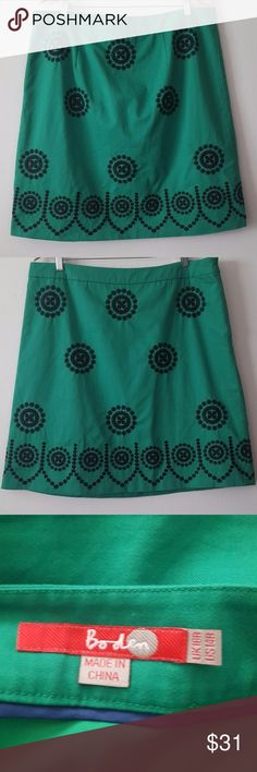 BODEN GREEN SKIRT W/EMBROIDERED BLACK MEDALLIONS Gently used, in excellent condition!! - Size 14 Regular Boden green a-line skirt with beautiful embroidered black medallion designs  Fully lined, side hidden zipper  Outer body: 100% cotton Lining: 100% polyester  Approx. 19 inch waist measured flat  Approx. 22.5 inches in length Boden Skirts A-Line or Full