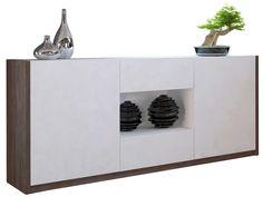Buffet bas 2 portes + 2 tiroirs OTAWA coloris pin foncé/blanc - Vente de Buffet, bahut, vaisselier - Conforama