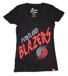 Portland Trail Blazers Women's Stroke Vintage Super Soft V-Neck Tee - Black