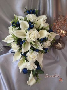 Groovy Ruby - Ivory Rose & Large Calla Lily, Added Navy Ribbon Loops
