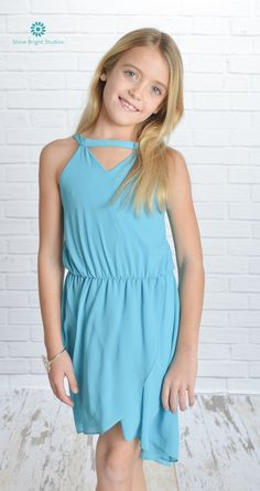 Sally Miller Couture chiffon hi low dress with cut out PolyesterSky BlueModel is wearing a in U. Tween Fashion, Girl Fashion, Sally Miller, Children's Boutique, Hi Low Dresses, Moon Child, Spring Dresses, Chiffon, Neckline