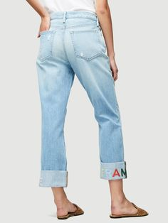 Boyfriend Embroidered Jeans by Frame Frame Store, Denim Branding, Embroidered Jeans, Denim Outfit, Mom Jeans, Boyfriend, Pants, Shopping, Clothes