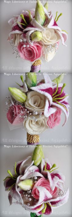 Stargazer felt bouquet.. this is awesome! I have to start felting those old sweaters that are laying around!