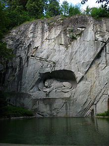 The Lion Monument (German: Löwendenkmal), or the Lion of Lucerne, is a sculpture in Lucerne, Switzerland, designed by Bertel Thorvaldsen and...