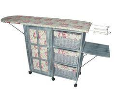 Victorian Chintz & Dove Grey Laundry Room Ironing Board Storage Cart Station