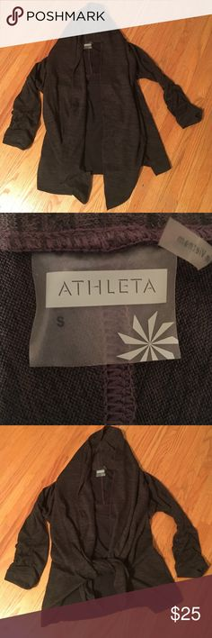 Athleta cardigan/wrap Adorable and cozy cardigan. Front can be left open or tied (see pics) perfect to throw on after a workout. Only worn a few times. Perfect condition! Athleta Sweaters Cardigans