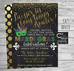 Let the Good Times Roll Mardi Gras Invitation