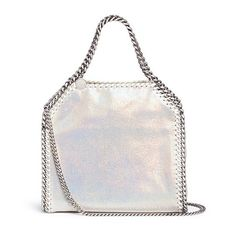 Stella McCartney 'Falabella' mini holographic two-way chain tote ($960) ❤ liked on Polyvore featuring bags, handbags, tote bags, metallic, metallic tote bag, handbags totes, mini tote, vegan tote and tote purses