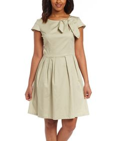 Look what I found on #zulily! Moss Gray Bow A-Line Dress #zulilyfinds