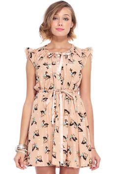 Deer Print Pleated Chiffon Pink Dress 19.67