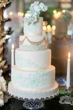 Amazing. White. Tiffany blue. Floral. Lace. Wedding cake