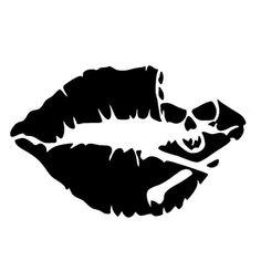 Kiss Mark Skull Lip Sexy Decal Sticker Girl Lipstick For Laptop Cars Truck Window Bumper Stickers Kiss Mark, Girls Lipstick, Totenkopf Tattoos, Kiss Of Death, Silhouette Cameo Projects, Skull And Crossbones, Skull Art, Skull Stencil, Bumper Stickers