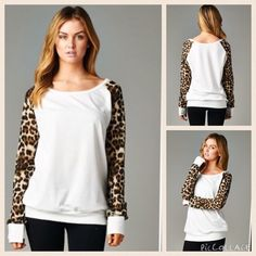 ❗️reserved❗️Ivory top with animal print sleeves Long sleeve rounded neckline French terry top with animal print mesh sleeve detail.                70% cotton 30% polyester. Tops