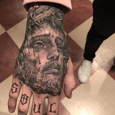 #handstattoo #handtattoo #jesustattoo #todaywork #tattootoday #bng #blackandgreytattoo #blackngrey #chicanotattoo #chicanosoul #jesuschrist… Dope Tattoos, Baby Tattoos, Badass Tattoos, Forearm Tattoos, Body Art Tattoos, Sleeve Tattoos, Tattoo Ink, Jesus Tattoo, Christ Tattoo