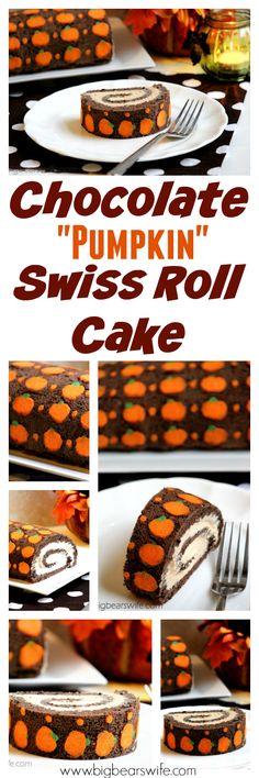 "Big Bear's Wife: Chocolate ""Pumpkin"" Swiss Roll Cake #SundaySupper"