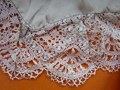 Torchon Bobbin lace on a silk child's cape. Cream silk Size: 98 x Gift from Ann Lamb. Bridal Veils And Headpieces, Lace Making, Bobbin Lace, Needful Things, Museum Collection, Lace Shorts, Delicate, Silk, How To Make