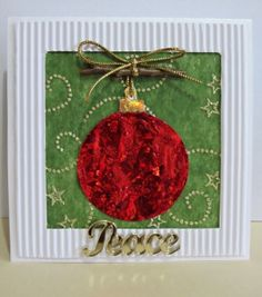 Peace and Joy Bauble Christmas Card: this full tutorial for a homemade Christmas card has great texture and shine.