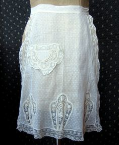 Vintage Apron Antique Sheer White Dot by GreenLeavesBoutique