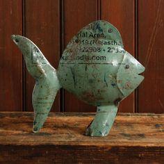 Reclaimed Metal Aqua Fish