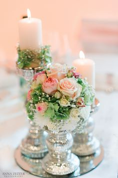 Magical vintage decoration for the wedding. With small delicate roses, gypsophila, white candles and Flower Centerpieces, Table Centerpieces, Flower Decorations, Wedding Centerpieces, Wedding Table, Diy Wedding, Wedding Bouquets, Rustic Wedding, Wedding Flowers