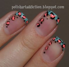 Teal and Coral Leopard French