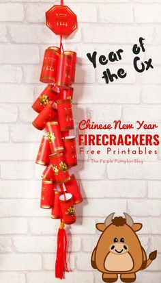 Celebrate the Chinese New Year with this free printable Chinese Firecrackers set! They're fun to make and look awesome hanging on the wall! New Year Printables, Party Printables, Free Printables, Chinese Firecrackers, Christmas Party Decorations, Holiday Decor, Purple Pumpkin, Money Envelopes, Year Of The Pig