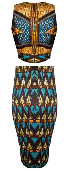 HIGH WAIST AFRICAN PRINT TWO PIECE CROP SET-AZZEY - OHEMA OHENE AFRICAN INSPIRED FASHION  - 2