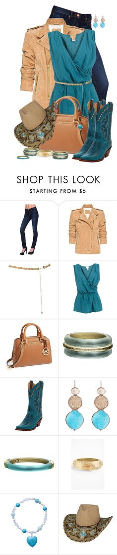 """""""The Roper's Wife"""" by rockreborn ❤ liked on Polyvore featuring J Brand, MANGO, 2Love TonyCohen, MICHAEL Michael Kors, Alexis Bittar, Justin Boots and Sandra Dini"""