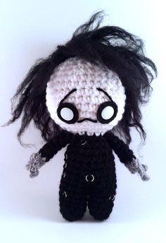 Edward Scissorhands - Tim Burton - Horror Movie Doll - Creepy Cute Amigurumi Chibi Plush - Gothic Home Decor - lauriegorexx @ Etsy