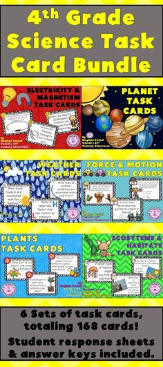 Students love using task cards and this science task card bundle works great for…