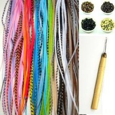 7-11 Feather Hair Extension Kit 10 Long Multi Genuine Single Feathers + 10 Micro Beads & hook Tool (You will get mixed s)