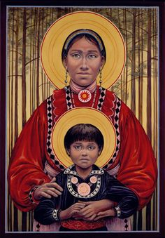 """Choctaw Madonna and Child by Fr. John Giuliani (The """"Five Civilized Tribes"""" — the Choctaws, Cherokees, Chickasaws, Creeks and Seminoles — were forcibly """"removed"""" from their lands in the eastern United states and marched on the Trail of Tears in the harsh winter of 1831-1832 to Indian territory — now Oklahoma."""