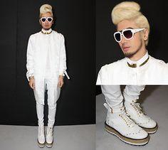 LB.nu Protacio Hi Tech Fabric Coat, Shirt And Trousers, Croc Skin Boots, White Frames