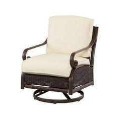 Martha Stewart Living Cedar Island All Weather Wicker Patio Motion Chair  With Bare Cushions