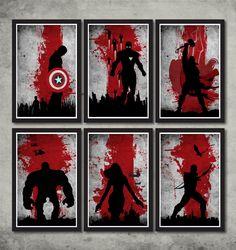 Vintage Avengers Movie Poster Set by MINIMALISTPRINTS on Etsy