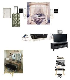 """Dream Room 🎇"" by gorgeouslee ❤ liked on Polyvore featuring interior, interiors, interior design, home, home decor, interior decorating, PBteen, Sterling Industries, Trademark Fine Art and Mikasa"