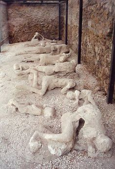 These people were in Pompeii when Mount Vesuvius erupted. The eruption released tons of pumice, a light volcanic rock. It completely buried the town and the people. Under the pumice, the bodies were preserved. -- Taran Kalle