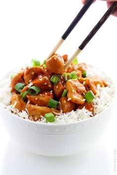 A lightened up version of traditional Asian orange chicken - an easy, better-than-take-out dish for those busy weeknights!