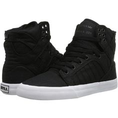 Supra Skytop Women's Skate Shoes ($85) ❤ liked on Polyvore featuring shoes, leather shoes, real leather shoes, cushioned shoes, supra footwear and cap toe shoes