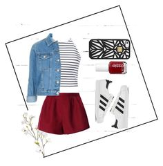 """Red and white"" by ilsecamps ❤ liked on Polyvore featuring NLXL, Ally Fashion, OKA, RED Valentino, Topshop, adidas, Essie, Hervé Léger, women's clothing and women"