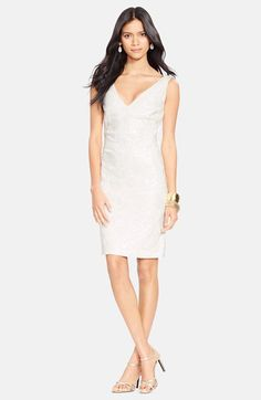 Lauren Ralph Lauren Sequin V-Neck Sheath Dress available at #Nordstrom