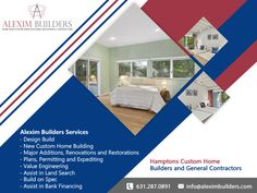 Hamptons Custom Home Builders and General Contractors Our Services - Design Build - New Custom Home Building - Major Additions, Renovations and Restorations - Plans, Permitting and Expediting - Value Engineering - Assist in Land Search - Build on Spec - Assist in Bank Financing Contact us by sending a message on whatsapp and we will contact you 631.287.0891 #alexim #aleximbuilders #bridgehampton #modern #renovation #southampton #easthampton #hampton #beach #exterior #builders Hamptons New York, Hamptons House, Custom Home Builders, Custom Homes, Land Search, Home Developers, General Contractors, Hampton Beach, New Home Construction