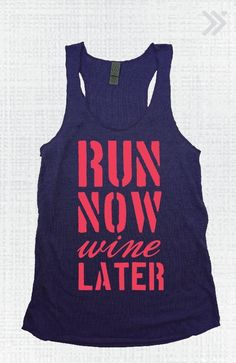 Navy/Coral Run Now Wine Later Eco Tank by everfitte on Etsy--would be perfect for Wine/Dine Workout Wear, Workout Shirts, Workout Clothing, Fitness Shirts, Workout Attire, Fitness Wear, Fitness Clothing, Gym Shirts, Workout Outfits