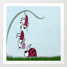 Ladybug Professing His Love Art Print by One Artsy Momma - $15.00