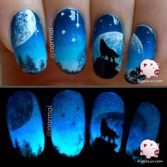 PiggieLuv: Galaxy wolf twin nails (glow in the dark) ~ with link to video tutorial (really helpful paint technique shown)