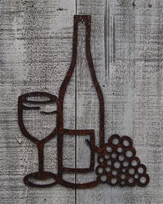Wine, Glass, Grapes plasma cut by hand, rusty metal wall hanging by FoothillMetalArt on Etsy
